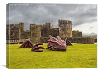 Dragon at Caerphilly Castle, Canvas Print