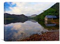Llyn Dinas, boat house, Canvas Print