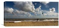 Southwold Kite Surfing Panorama, Canvas Print