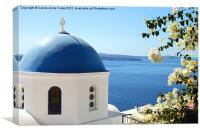 Flower Framed Church, Santorini, Greece, Canvas Print