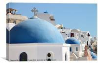 Blue Domed Churches of Santorini, Canvas Print