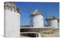 Traditional Windmills on Mykonos, Canvas Print