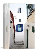 Mykonos Street, Canvas Print