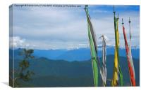 Prayer Flags on the Road in Bhutan, Canvas Print