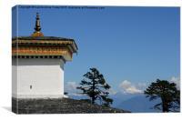 Chorten and Mountains, Bhutan , Canvas Print