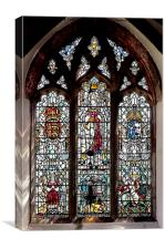 Stained Glass in Saint David's Cathedral, Pembrok, Canvas Print