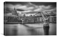 Millennium Bridge and St Paul's Cathedral, London, Canvas Print