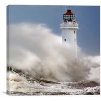 New Brighton lighthouse Facing the fury, Canvas Print