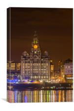 Liver building by night, Canvas Print