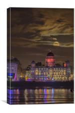 Port of Liverpool building moonrise, Canvas Print