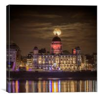 Liverpool supermoon with reflections, Canvas Print