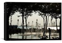 Fountain Contra Jour, Battery Park NYC, Canvas Print