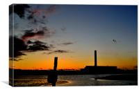 Sunsets behind Fawley Power Station, Canvas Print