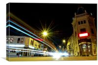 Victorian Theatre and Light Trails, Canvas Print