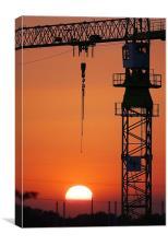 Crane at Sunset, Canvas Print