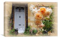 Roses in a country garden, Canvas Print