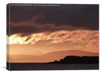 Sunset over Skye and Longa, Canvas Print