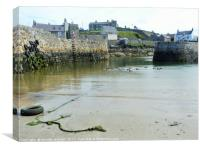 Low tide at Portsoy harbour, Canvas Print