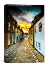 Whitby cobbled street, Canvas Print