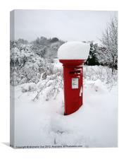 Snow Topped Post Box, Canvas Print