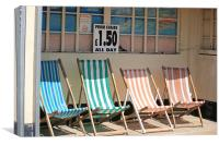 vacant deckchairs awaiting occupation, Canvas Print
