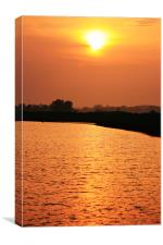 sunset over river Bure, Canvas Print