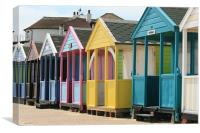 colourful Southwold beach huts, Canvas Print