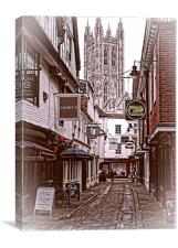 Side streets of old Canterbury, Canvas Print