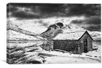 Llyn y Dywarchen Boathouse, Canvas Print