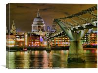 St Pauls Catherderal and  Millennium Footbridge, Canvas Print