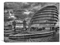 City Hall and Tower Bridge BW, Canvas Print