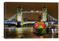 HMS Belfast From London Bridge - Night, Canvas Print