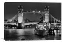 HMS Belfast From London Bridge - Night BW, Canvas Print
