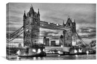 Tower Bridge And The City BW, Canvas Print