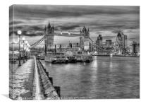 Tower Bridge From Butlers Wharf BW, Canvas Print