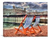 Deckchairs - Brighton, Canvas Print