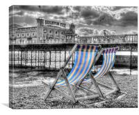 Deckchairs - Brighton BW, Canvas Print