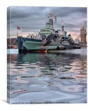 HMS Belfast At Twilight, Canvas Print
