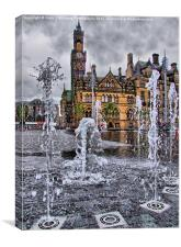 Bradford Fountains and city hall, Canvas Print
