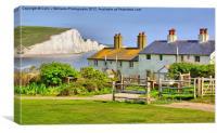 Coastguard Cottages - The Seven Sisters, Canvas Print