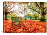 Bench Among The Leaves - Thatcham - Orton, Canvas Print