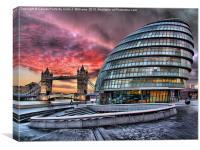 London Skyline - City Hall and Tower Bridge, Canvas Print