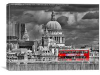 The Red Bus And Saint Pauls Cathederal london, Canvas Print