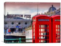 Brighton Phone Boxes And Pier, Canvas Print