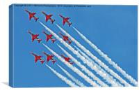 Red Arrows - Blue Sky , Canvas Print