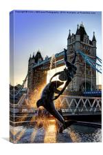 Tower Bridge and Girl with a Dolphin Fountain , Canvas Print