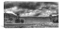 The Two Lancasters The Derwent Dam, Canvas Print