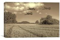 Hurricane And Spitfire 3 BW, Canvas Print