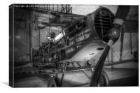 Restoring a Biplane, Canvas Print