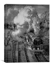 The Train Departing 3 BW, Canvas Print
